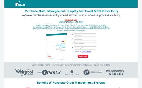 Screenshot of Landing Page esker.com - Purchase Order Management Software   Esker - captured July 14, 2016