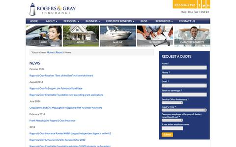 Screenshot of Press Page rogersgray.com - Agency News & Services | Rogers & Gray Insurance - captured Nov. 4, 2014