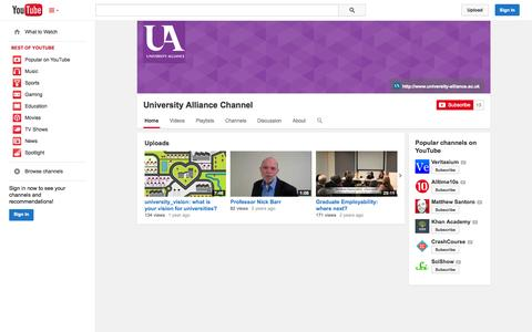 Screenshot of YouTube Page youtube.com - University Alliance Channel  - YouTube - captured Oct. 27, 2014