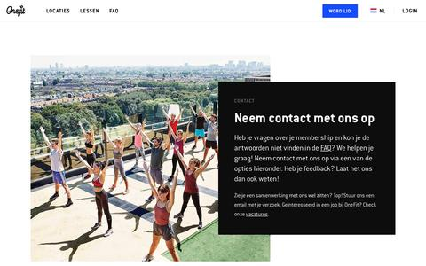 Screenshot of Contact Page onefit.nl - Contact - captured Sept. 13, 2018