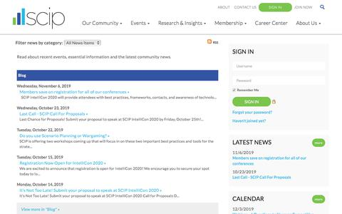 Screenshot of Press Page scip.org - Blog - Strategic and Competitive Intelligence Professionals (SCIP) - captured Nov. 19, 2019