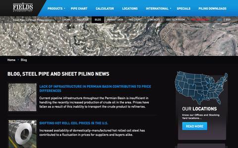 Screenshot of Blog jdfields.com - Blog - Steel Pipe and Sheet Piling news JD Fields - captured Oct. 1, 2014