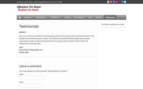 Screenshot of Testimonials Page effinghamtirerepair.com - Testimonials - Effingham Tire Repair - captured Sept. 29, 2014