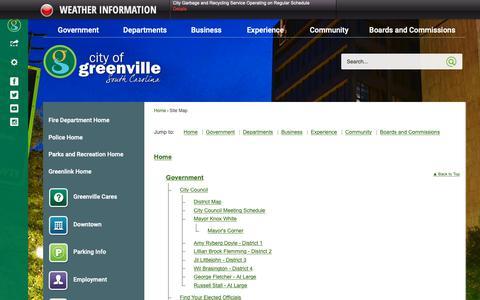 Screenshot of Site Map Page greenvillesc.gov - Greenville, SC - Official Website - captured Dec. 12, 2018