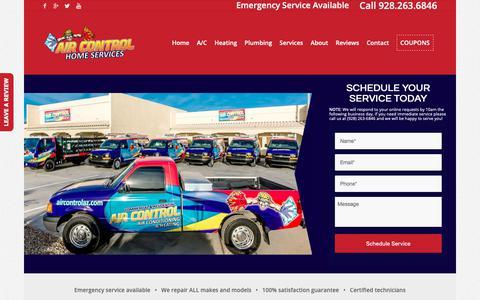 Screenshot of Services Page aircontrolaz.com - HVAC Services - captured Oct. 3, 2018