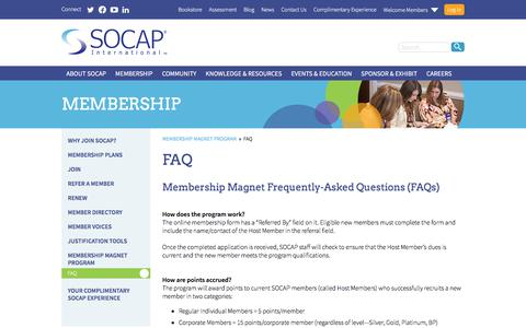Screenshot of FAQ Page socap.org - FAQ - captured Sept. 30, 2017