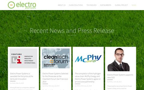 Screenshot of Press Page electropowersystems.com - News and press releasesElectro Power Systems - captured Sept. 29, 2014