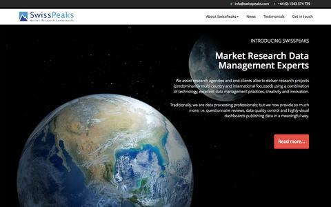 Screenshot of Home Page swisspeaks.com - Home - SwissPeaks - captured June 19, 2015