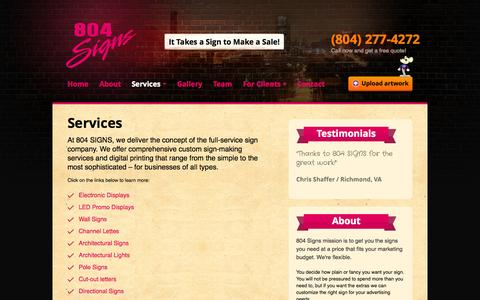 Screenshot of Services Page 804signs.com - 804 SIGNS / Richmond, VA Sign Company /   Services - captured Oct. 9, 2014