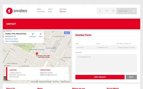 Screenshot of Contact Page pixalies.com - Contact Pixalies - captured Sept. 30, 2014