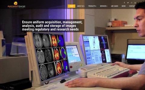 Screenshot of Home Page radiantsage.com - The only technology solution providing the key functionality of an Imaging Core Lab | Radiant Sage - captured Aug. 16, 2015