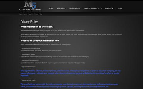 Screenshot of Privacy Page m5ms.com - M5 Management Services, Inc. - Privacy Policy - captured Oct. 3, 2014
