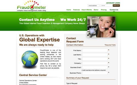 Screenshot of Contact Page fraudometer.com - FraudOMeter™ Complex Fraud Managment Made Easy - captured Sept. 30, 2014