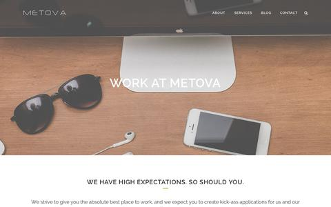 Screenshot of Jobs Page metova.com - Work At Metova - Metova, Inc. | Android, iPhone, Blackberry - Mobile App Development Services - captured Oct. 27, 2014