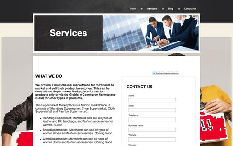 Screenshot of Services Page iamloyal.co.uk - Services l Global e-Commerce Marketplace - captured Sept. 30, 2014