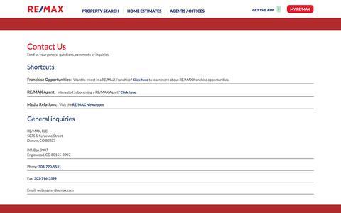 Screenshot of Contact Page remax.com captured Nov. 8, 2018