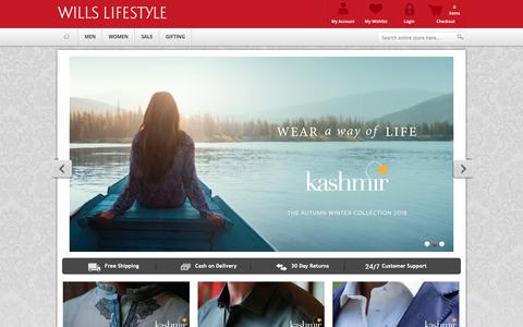 Screenshot of Home Page shopwillslifestyle.com - Wills Lifestyle | Buy Wills Lifestyle Shirts, Clothing Shopping Online in India - captured Nov. 8, 2018