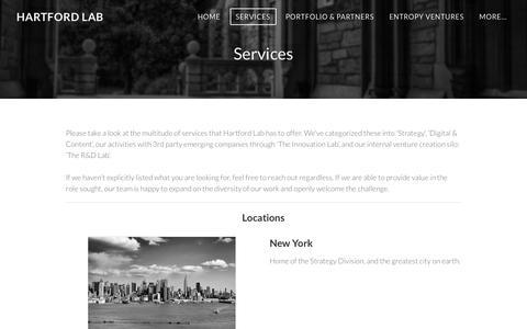 Screenshot of Services Page hartfordlab.com - Services - Hartford Lab - captured Jan. 26, 2016