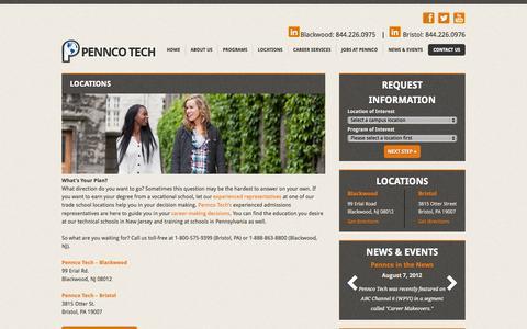 Screenshot of Locations Page penncotech.edu - Vocational School in New Jersey & Pennsylvania-Pennco Tech - captured Oct. 28, 2014