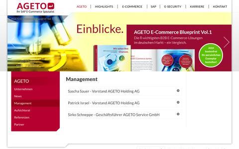 Screenshot of Team Page ageto.de - Management: AGETO - captured Sept. 13, 2014
