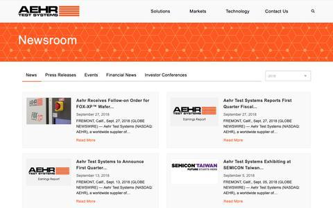 Screenshot of Press Page aehr.com - Newsroom - Aehr Test Systems - captured Oct. 3, 2018