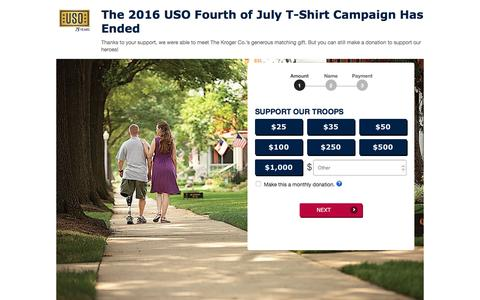 Screenshot of Landing Page uso.org - Donate | USO.org - captured Dec. 15, 2016