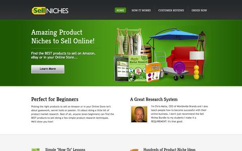 Screenshot of Home Page sell-niches.com - Product Market Research System | Sell Niches - captured Sept. 19, 2014