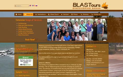 Screenshot of Testimonials Page blastours.com - Blastours Ghana Testimonials: Travellers Reviews about Blastours travel related services - captured Jan. 6, 2016