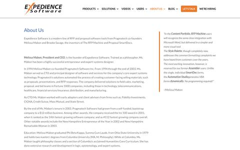Screenshot of About Page Team Page expediencesoftware.com - About Expedience and RFP Software - captured Sept. 15, 2019