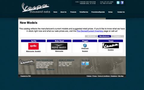 Screenshot of Products Page tovespa.com - New Models from Vespa Thousand Oaks - captured Oct. 7, 2014