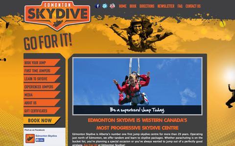 Screenshot of Home Page edmontonskydive.com - Edmonton Skydive | Go for it - captured Sept. 29, 2014