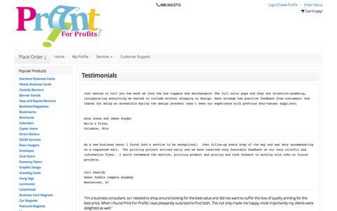 Screenshot of Testimonials Page printforprofits.com - business cards | full color printing | digital printing company | flyers  |marketing materials | Printforprofits - captured Nov. 12, 2016