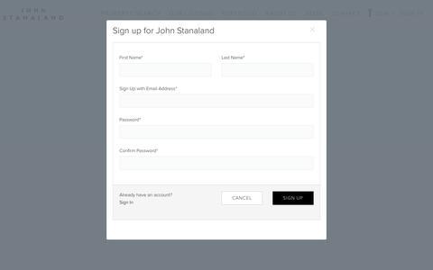 Screenshot of Signup Page johnstanaland.com - SIGN UP on John Stanaland - captured Oct. 21, 2018