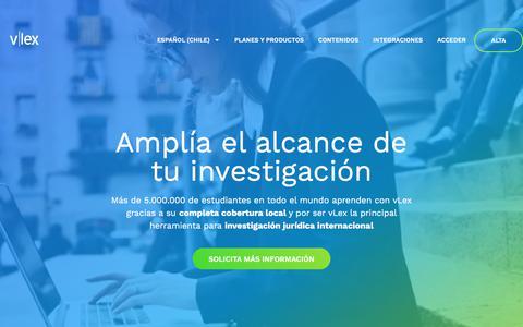 Screenshot of Home Page vlex.cl - vLex - Información jurídica inteligente - captured Sept. 22, 2018