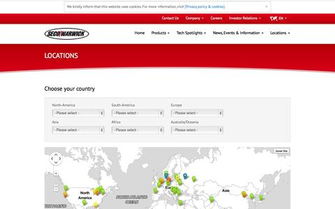 Screenshot of Locations Page secowarwick.com - You can find us here » SECO/WARWICK - captured Oct. 3, 2014