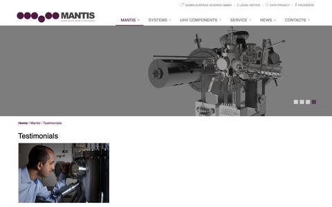 Screenshot of Testimonials Page mantisdeposition.com - Mantis Deposition Systems: Testimonials - captured Oct. 2, 2018