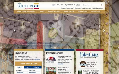 Screenshot of Home Page visitsouthbend.com - Official Greater South Bend Area Visitors Guide: St. Joseph County, North Central Indiana - captured Oct. 7, 2014