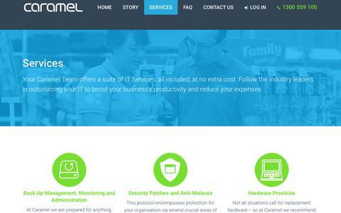 Screenshot of Services Page caramel.com.au - Services | Caramel – 6 Steps to IT Freedom - Caramel - captured July 14, 2017