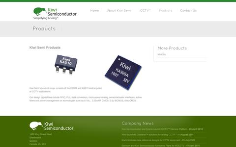 Screenshot of Products Page kiwisemi.com - Products - Kiwi Semiconductor - captured Sept. 16, 2014
