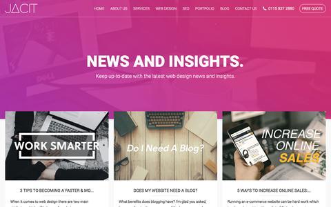 Screenshot of Blog jacit.co.uk - The Latest Web Design News, Tutorials & Updates from Jacit Ltd, Nottingham & Derby - captured Oct. 16, 2017