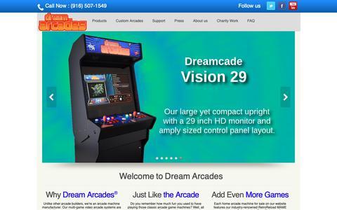 Screenshot of Home Page dreamarcades.com - Dream Arcades® - Multi-Game Video Arcade Machines - captured Nov. 6, 2018