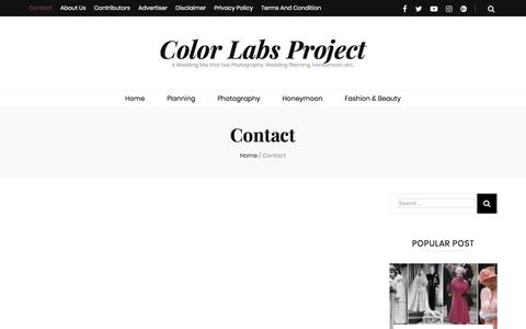 Screenshot of Contact Page colorlabsproject.com - Contact – Color Labs Project - captured April 22, 2018