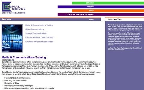 Screenshot of Services Page signalbridge.com - Signal Bridge Communications -- Services - captured Oct. 26, 2014