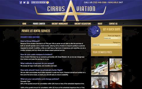 Screenshot of FAQ Page cirrusav.com - Private Jet Rental | Private Jet Charter Flight | FAQ | 702-448-2366 | Cirrus Aviation - captured Nov. 2, 2014