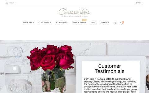 Screenshot of Testimonials Page classicveils.com - Testimonials | Classic Veils - captured May 18, 2017