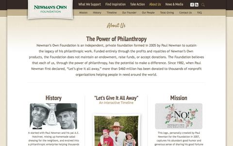 Screenshot of About Page newmansownfoundation.org - Newman's Own Foundation | More than $350 Million Donated Around the World - captured March 8, 2016