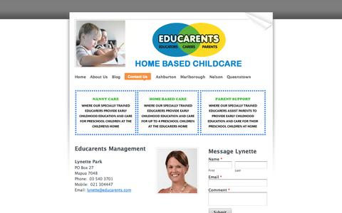 Screenshot of Contact Page educarents.com - Contact Us - Educarents coordinates high quality, affordable home based childcare and education services.  Educarents is available to families who already have a family member helping with childcare and is ideal for parents wanting training and suppo - captured Oct. 2, 2014