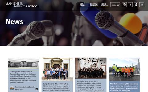 Screenshot of Press Page mannheim-business-school.com - News > Mannheim Business School - captured July 27, 2018