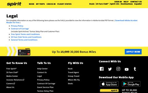 Screenshot of Terms Page spirit.com - Legal   Spirit Airlines - captured March 7, 2019
