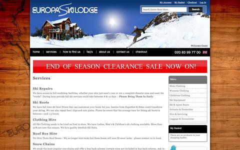 Screenshot of Services Page europaskilodge.co.uk - Services | Ski Repairs, Ski Boots, Roof Box Hire, Clothing Hire & Snow Chains - captured March 5, 2016